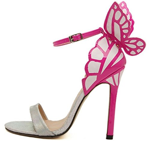 Stiletto Silver Heel Colorful Womens Ladies LINYI High Dreamy Butterfly Heels Sandals BZEwaq