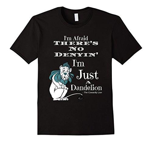 Mens Wizard Of OZ Cowardly Lion Quote Just a Dandelion Large Black