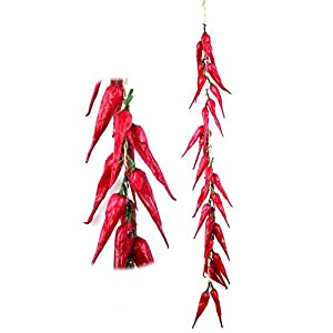 sexyrobot Red Chili Fake Peppers Artificial Lifelike Fake Vegetable String Faux Lifelike Plants Hanging for Mother's Day Decoration,Home Kitchen Christmas Wall Decor-10 Strings 2