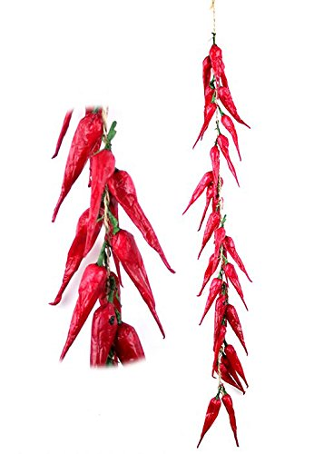 sexyrobot Artificial Fake Vegetable, Lifelike Red Chili Fake Peppers Strings Hanging for Home Christmas Wall Decor-10 Strings