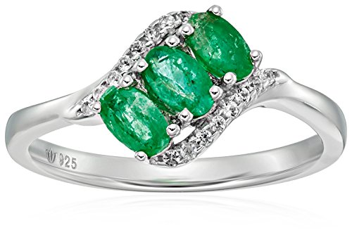 Stone Emerald Ring 3 Genuine (Sterling Silver Genuine Emerald And Created White Sapphire 3-stone Engagement Ring, Size 7)