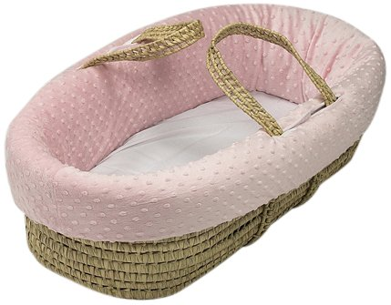 Baby Doll Bedding Heavenly Soft Doll Moses Basket Set, Pink