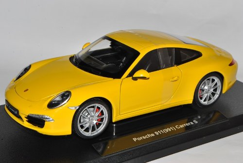 Welly Porsche 911 991 Carrera S Coupe Gelb Ab 2012 1/18 Modell Auto