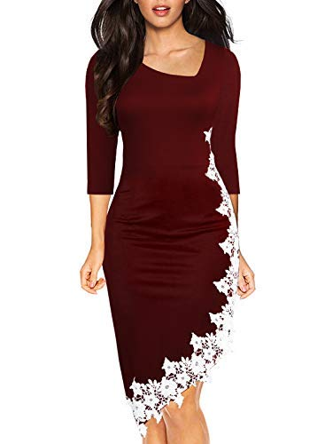 Drimmaks Women's Fashion Burgundy 3/4 Sleeve Asymmetric Neck Bodycon Irregular Lace Hem Evening Party Dress (023-Wine Red, M)
