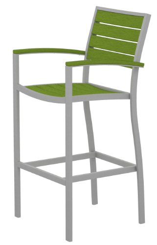 POLYWOOD A202FASLI Euro Bar Arm Chair, Textured Silver/Lime