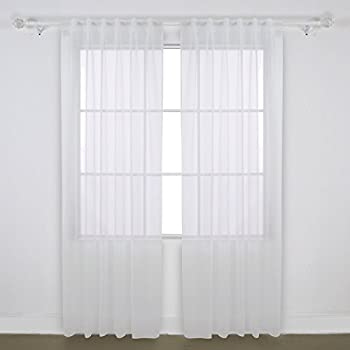 Deconovo Home Decorations Rod Pocket And Back Tab Curtains Voile Sheer  Curtains And Drapes Tulle Curtains