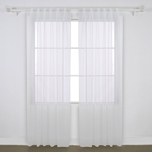 Deconovo Home Decorations Rod Pocket and Back Tab Curtains Voile Sheer Curtains and Drapes Tulle Curtains for Living Room 52 W x 84 L Inch White 1 Pair