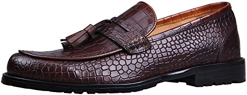 Crocodile Tassel - ELANROMAN Italian Handmade Loafers for Men Dress Leather Crocodile Pattern Shoes Leather Loafers Men Tassel Brown US 8 EU 41 Foot Length 289.34mm