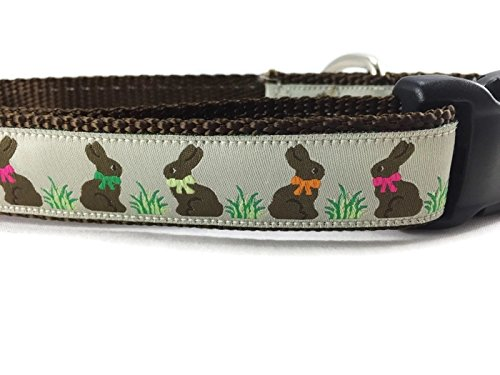 (Easter Dog Collar, Caninedesign, Bunny, 1 inch Wide, Adjustable, Nylon, Medium and Large (Chocolate Bunnies, Large 15-22