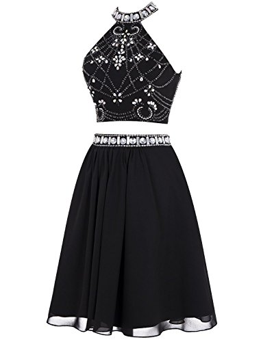 Two BD132 Homecoming Halter Formal Beading White Evening Pieces BessDress Dress Short zqwO4n7zd
