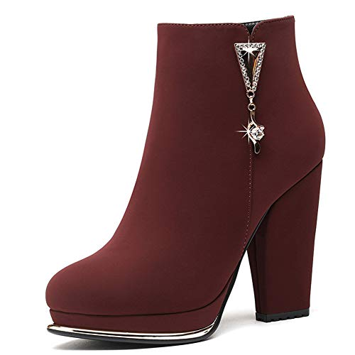 DETAIWIN Womens Mid Calf Boots Leather Cow Suede for Casual Round Toe High Heel Winter Platform Boot