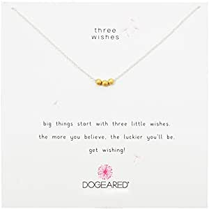 "Dogeared Three Wishes, Gold Stardust Beads, Silver Chain Necklace, 16""+2.5"" Extender"