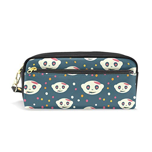Pencil Case, Halloween Patterns Printed Travel Makeup Pouch Large Capacity Waterproof Leather 2 Compartments Best Halloween Gift for Kids Girls -
