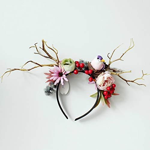 カチューシャ ブランチ ヘッドバンド ヘアアクセ ヘアバンド 花飾り 鹿角風 髪飾り 森スタイル 森ガール コスプレ クリスマス ウェディング 写真用 演出 結婚式 パーティー