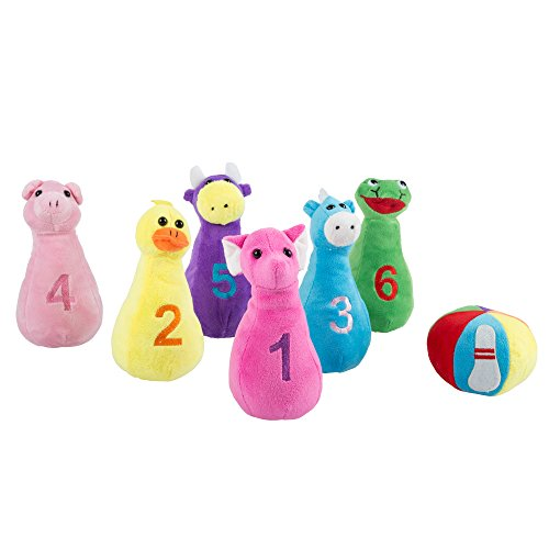 Kids Bowling Set with Six Numbered Plush Animal Pins and Plush Ball with Carrying Case - Developmental Toy for Toddlers Boys and Girls by Hey! Play! (Animal Bowling Game)