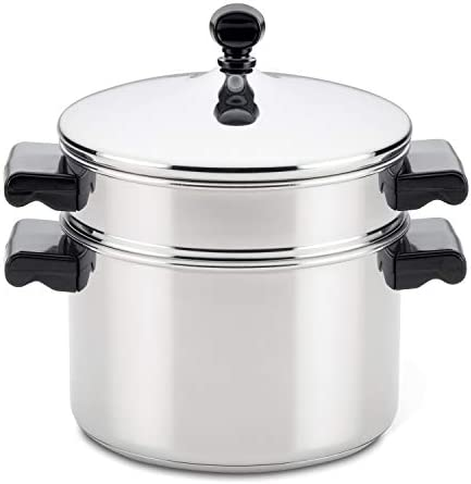41s8GDycLvL. AC Farberware Classic Series Sauce Pot/Saucepot with Steamer Insert, 3 Quart, Silver    Sauce it, boil it, steam it, and simmer it with the versatile Farberware Classic Stack 'N' Steam Stainless Steel Saucepot and Steamer. From lobster pot to soup pot, this multipurpose cookware combo can be used with or without the steamer insert, and boasts a full cap base featuring a thick aluminum core surrounded by stainless steel for rapid, even heating on any stovetop, including induction. Heavy-duty stainless steel is polished to a mirror finish for a classic touch and the stacking steamer pot is dishwasher safe and oven safe to 350°F.