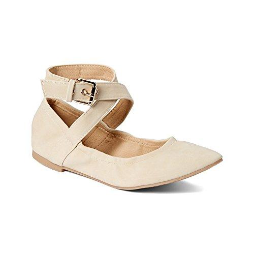 Gal Adult Beige Buckle Criss-Cross Ankle Strap Ballerina Flats 10 (Criss Cross Mary Jane)