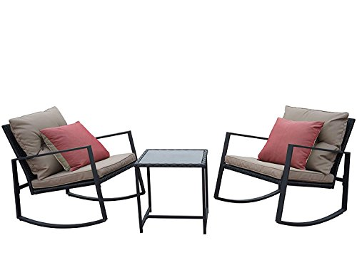 Kozyard Moana Outdoor 3-Piece Rocking Wicker Bistro Set