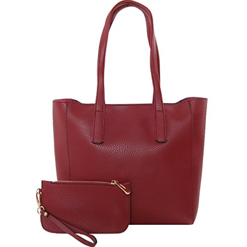 Humble Chic Pocket Shoulder Vegan Leather Tote Bag - Large Top Handle Satchel Handbag Purse with Wristlet, Burgundy, Dark Red, Oxblood (Handbag Red Chic)