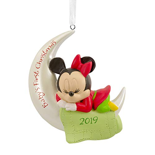 Hallmark Christmas Ornaments 2019 Year Dated, Disney Minnie Mouse Baby's First Christmas Ornament (Hallmark Ornament First Christmas)