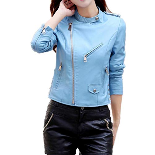 Bleu Casual Faux Femmes Manches Cuir Longues Longues Manches Manteaux Qixuan Zipper Manteaux fXwqxP