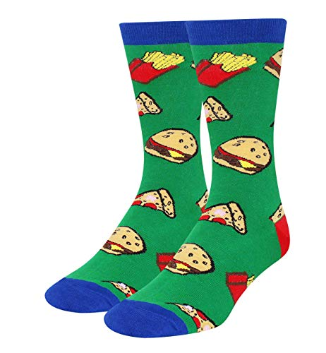 Zmart Men's Novelty Colorful Crazy Food Cotton Crew Socks Funny Hamburg Pizza Chips Pattern]()