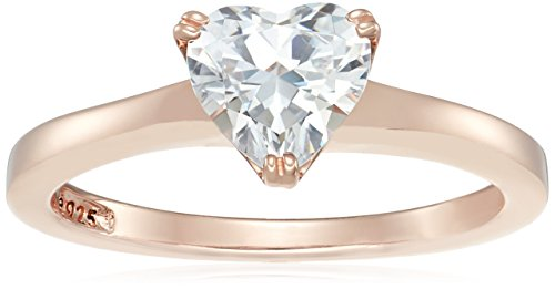 (Rose-Gold-Plated Silver Heart-Shape (1.5 cttw) Solitaire Ring made with Swarovski Zirconia, Size 7)