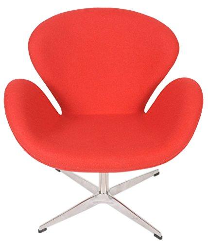 MLF Arne Jacobsen Swan Chair, Premium Cashmere & Hand-Sewn. 360176; Swivel, Polished 4-Star Aluminum Base. Single Reinforced Fiberglass Shell, Elegant Swan Shape & Multi-Density Foam.(Red)