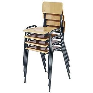 Chaise empilable en contreplaqué de hêtre – lot de 4 – piétement bleu gentiane – chaise chaise de cantine chaise empilable chaises chaises de cantine chaises empilables siège visiteur sièges