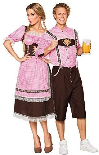 Couples Mens and Ladies Gingham Oktoberfest German Beer Festival Bavarian Lederhosen Fancy Dress Costume Outfit (UK 8-10 - Mens Large)]()