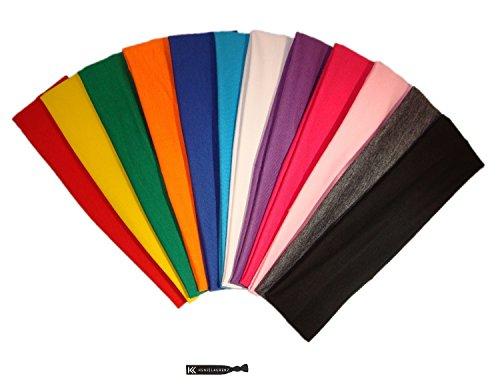 3 Cotton Headbands Pack Stretch Elastic Yoga Soft and Stretchy Sports Sweatbands Fashion Headband for Teens Women Girls by Kenz Laurenz (12 pc Headbands, Assorted)
