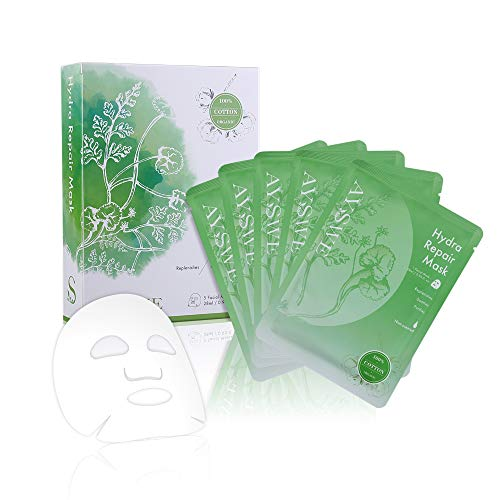 AYSWE Un-scented Hydrating & Repair Organic Cotton Face Mask Sheet to reduce Fine Lines, Wrinkles, Balance & Refine Pores for Oily, Acne-prone, Sensitive & All Skin Types, 5 Facial Masks