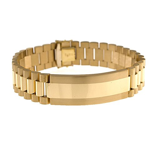 - 18k Yellow Gold 16mm Gents Fancy Link Chain ID Bar Identification Bracelet for Men - 8