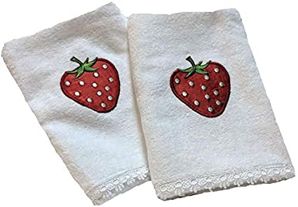 White hand towels with strawberry applique white lace