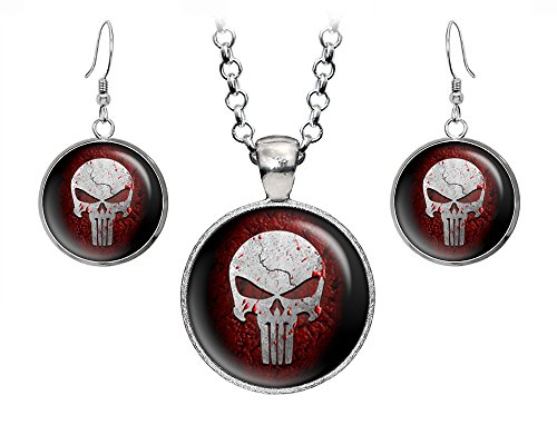 Punisher Necklace, Daredevil Earrings, Avengers Jewelry Set, Dare Devil Superhero Wedding Party Gift Set, Groomsmen Gifts Geek Geeky Gift ()