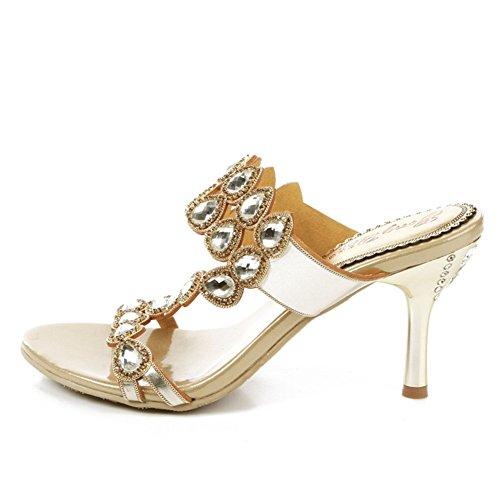 Zapatos de Mujer PU Summer Slingback Comfort Zapatillas y Chanclas Walking Shoes Stiletto Tacón Open Toe para Fiesta y Vestido de Noche Do