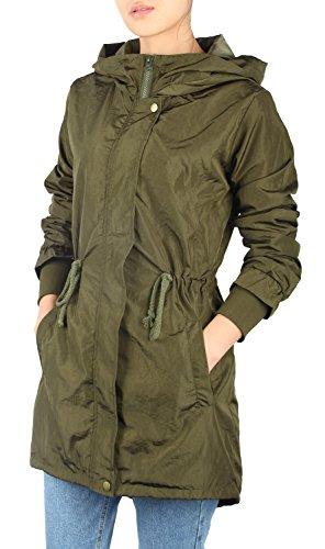 iLoveSIA (アイラブシア) レディーズコー ロング丈フード付きジャケット ミリタリーコート ウインドブレーカー 春物 軽量 防風 撥水