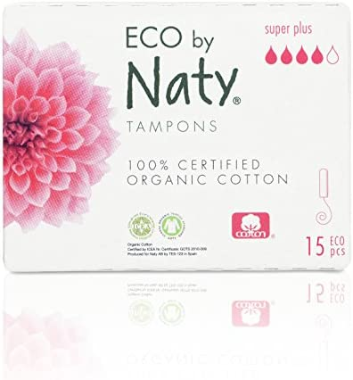 Eco by Naty Certified Organic Cotton Applicator-Free Digital Tampons Super Plus 15 Tampons 15 Pieces