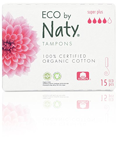 Eco by Naty Certified Organic Cotton Applicator-Free Digital Tampons, Super Plus, 15 Tampons