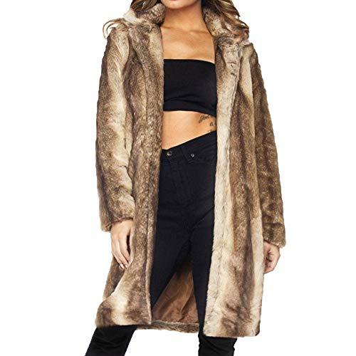 Limsea Women Blouse Womens Fleece Winter Warm Casual Faux Fur Parka Jacket Coat Outerwear Cardigan(Brown,XX-Large)