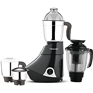 Butterfly Smart Glass 2 Burner Gas Stove, Black & Smart 750-Watt Mixer Grinder with 4 Jar (Grey) Combo