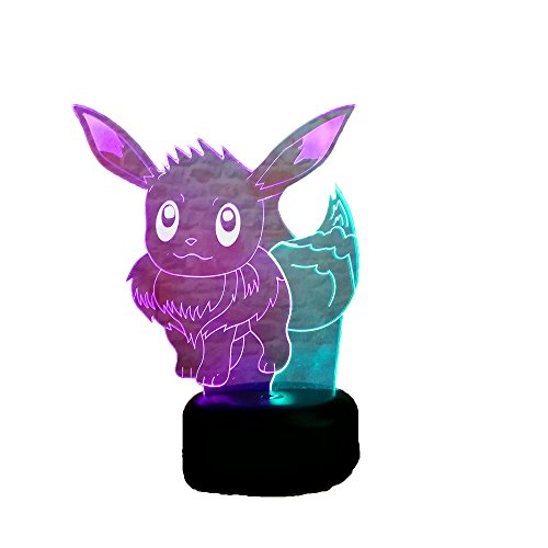 (3D Cartoon Game Monster Eevee USB Touch Toys Night Light Action LED Lamp 7 Colorful Change Kid Gift Birthday Halloween Xmas New Year Children's Day Lamp)