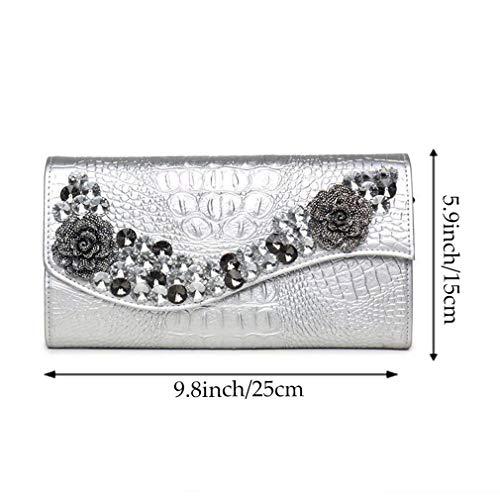 Main Fête Femmes Soirée De À Enveloppe Faux Sac YANXH Mariage Capacité La Grande en Sac Diamant Pochettes Silver Cuir pour 1Oadwxq