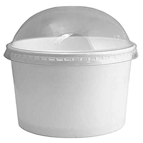 Frozen Dessert Supplies 6/8 oz Ice Cream Cup Dome Lids, Clear Plastic Dome Lids Fit Our 6 oz and 8oz Cups Perfectly, Cups Sold Seperately 50 - Fits 8 Ounce Cups