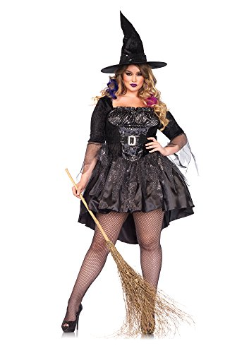 Leg Avenue Women's Plus-Size 2 Piece Black Magic Mistress Witch Costume, Black, 1X -
