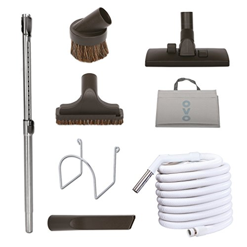 Nadair KIT-30G-OVO Garage Vacuum Accessories Kit - Set Includes 30ft Central Vac Hose With Combo Brush & 3 Hose Attachments - Dusting Brush - Upholstery Brush - Crevisse Brush -