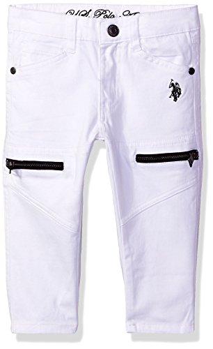 U.S. Polo Assn. Girls' Big Stretch Twill Capri, White, ()