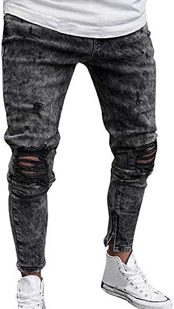 Faweg Jeans Rasgados Para Hombres High Waist Hole Pencil Skinny Jeans Pantalones Moda Color Solido Casual Lapiz Pantalones Hombres L Gris Amazon Es Ropa Y Accesorios
