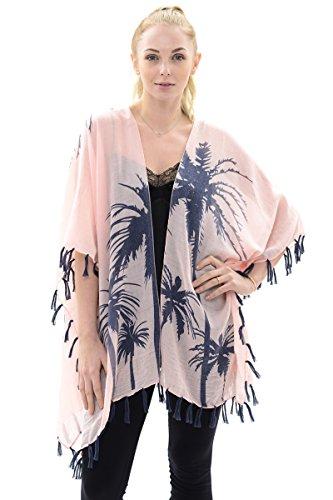 BYOS Womens Summer Soft Open Front Kimono Shawl Warp With Tassels (Pink Palm ()
