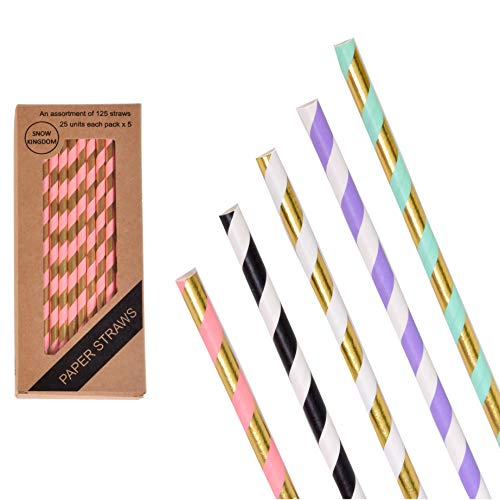 125 PCS Assorted Collection Paper Straws Striped Drinking Decoration - Boxed 5 Individual -